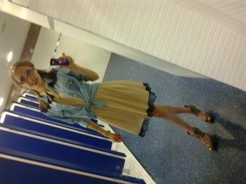 Me: salmon vintage style dress/black lace detail: Miss Selfridge. denim shirt: Primark. shoes: Dorothy Perkins
